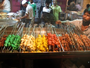 Colorful kebabs on Md. Ali Road